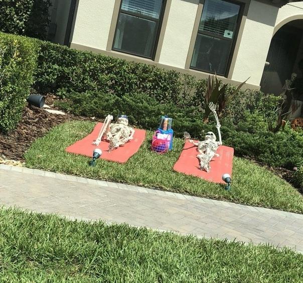 Жительница Флориды Сами Кампаньяно рассказалав своем твиттереоб удивительных соседях, которые устроили перед Хэллоуином настоящую выставку. Семья не стала ограничиваться традиционным украшением дома, а разработала несколько сюжетных линий для своей эксп