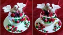 DIY Love birds showpiece with light/Clay work on waste materials, waste CD