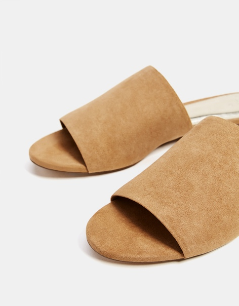 Туфли-мюли цвета выделанной кожи