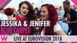 Jessika &amp Jenifer Brening (San Marino) @ Eurovision 2018 Red Blue Carpet Opening Ceremony