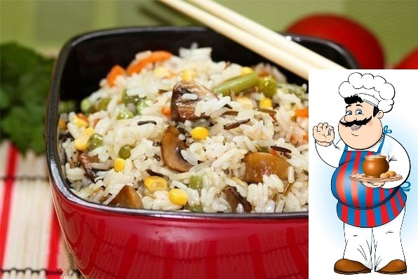 Невероятно вкусный рис с овощами и грибами Состав: - 300 г пропаренного риса с диким - 1 морковь - 2 луковицы - 300 г шампиньонов - 100 г зеленого горошка - 100 г спаржевой фасоли - 100 г