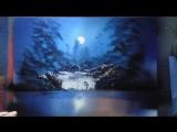 Moonlit Rocks Spray Paint Art