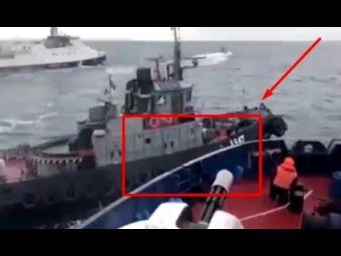 Срочно Полное видео тарана сторожевиком ФСБ украинского буксира