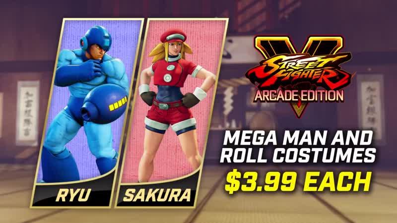 Street Fighter V Arcade Edition Mega Man and Roll Costumes