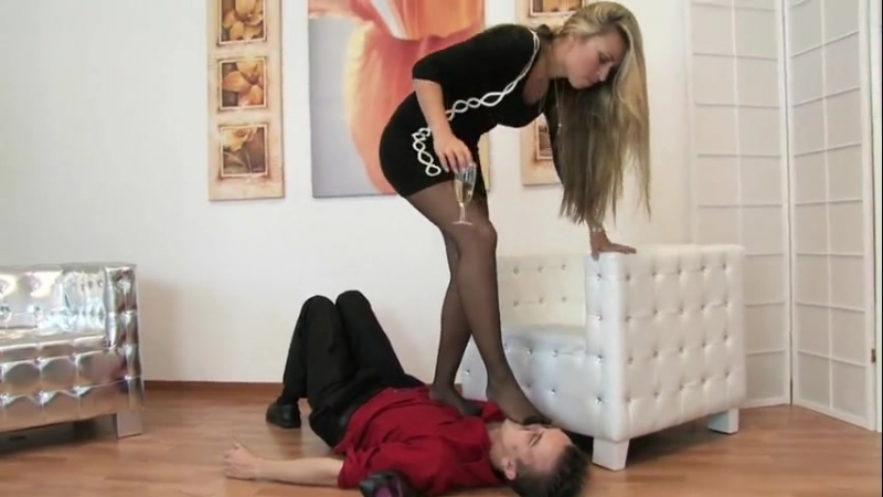 Mistress Katja worship trample black pantyhose feet
