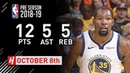 Kevin Durant Full Highlights Suns vs Warriors - 2018.10.08 - 12 Pts, 5 Ast, 5 Reb!