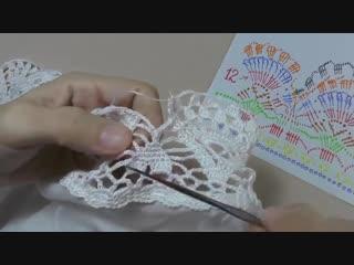 Обвязка кружевной каймой юбки из ткани. КАЙМА крючком. Схема вязания
