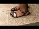 Candid pantyhose and flat sandals feet teen Asian girl