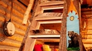 Live Edge Wood Staircase in a Rustic Log Cabin   Working Alone