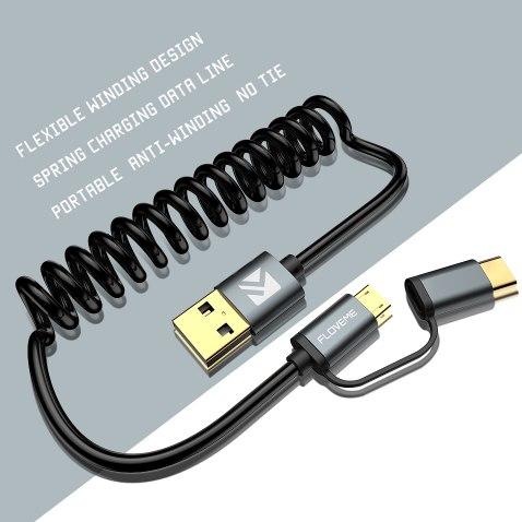 Зарядный кабель с переходником с micro-USB на USB-C