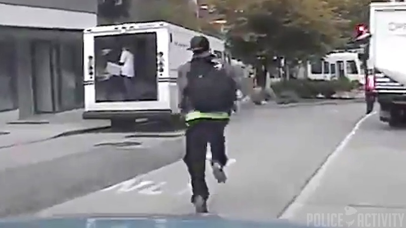 Raw Dashcam Video Shoplifter Tries To Run From Seattle Police