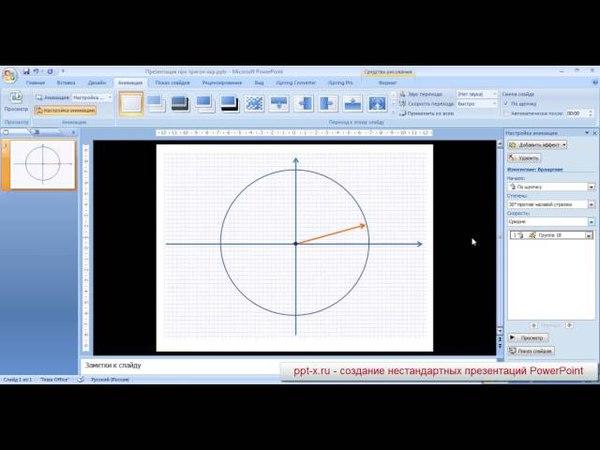 Тригонометрическая окружность в PowerPoint