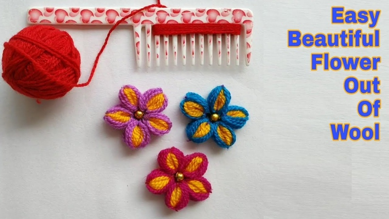 Easy Flower Making Out Of Wool and Comb Woolen Flower Making
