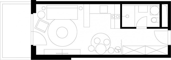 Проект студии 28 м с полной обстановкой от ИКЕА.