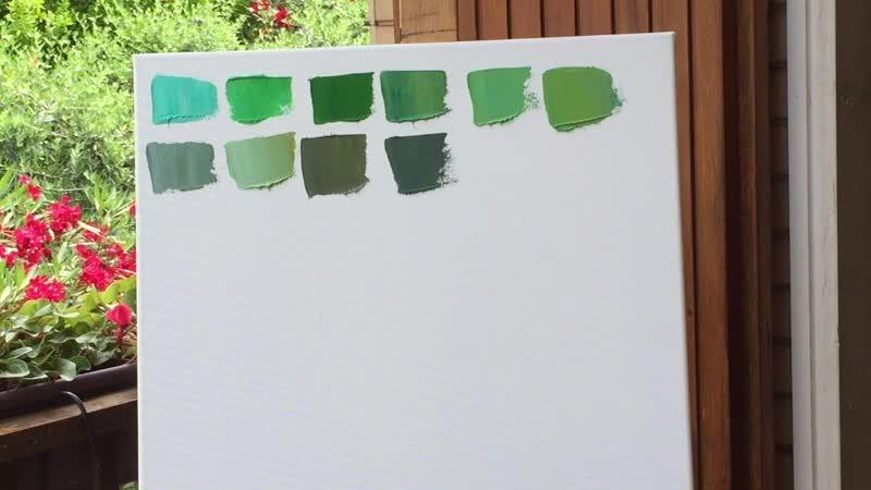 Смешиваем краски на палитре Зеленый цвет. Школа Искусств Перотти