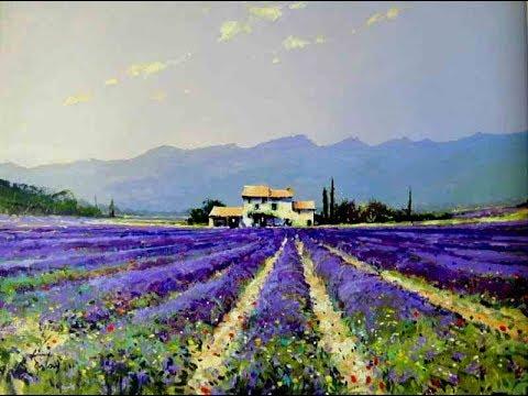 Мастер-класс картина маслом Лавандовое поле.Lavender field.Picture