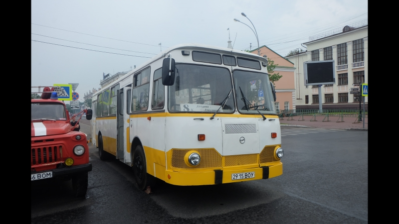 ЛиАЗ-677М снова бежит по улицам Вологды (Герцена, Конева)