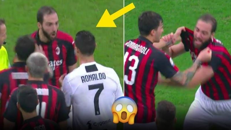 Обзор матча Милан - Ювентус 0:2, Красная Игуаина, Драка Роналду и Игуаина Гол Роналду Милану