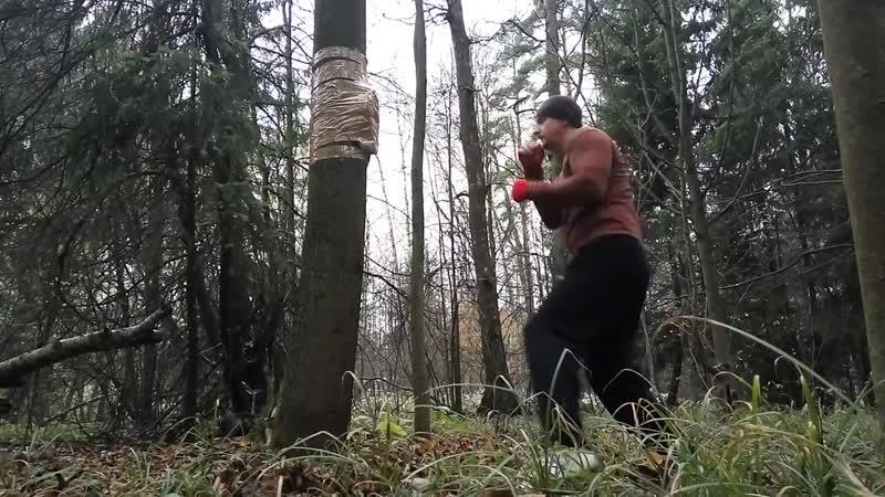 Левый прямой удар. Тренировка в лесу. Right jab.