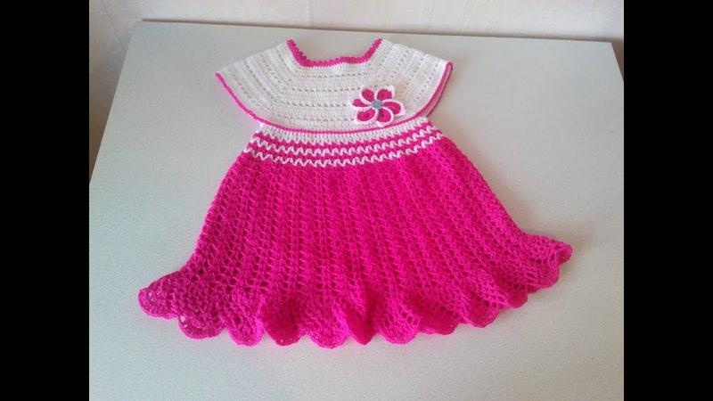 Платье крючком с квадратной кокеткой От 0 5 лет Часть2