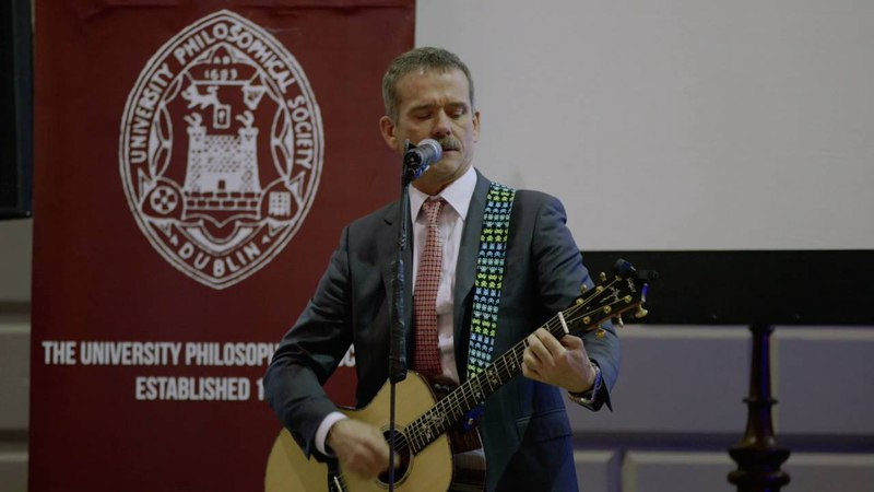 Astronaut Chris Hadfield performs David Bowie's Space Oddity during visit to Trinity (Dec 2014)
