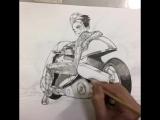 昨日のレディプレイヤー1 アルテミスと金田のバイクの作画タイムラプス動画 - Instagram