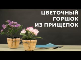 Горшок для цветов из прищепок