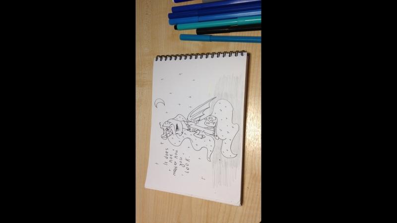 2 часть арт стрима Разукрашиваем принцессу Луну из мультфильма мой маленький пони