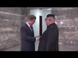 Video of the meeting between North Korean leader Kim Jong Un and South Korean president Moon Jae-in today