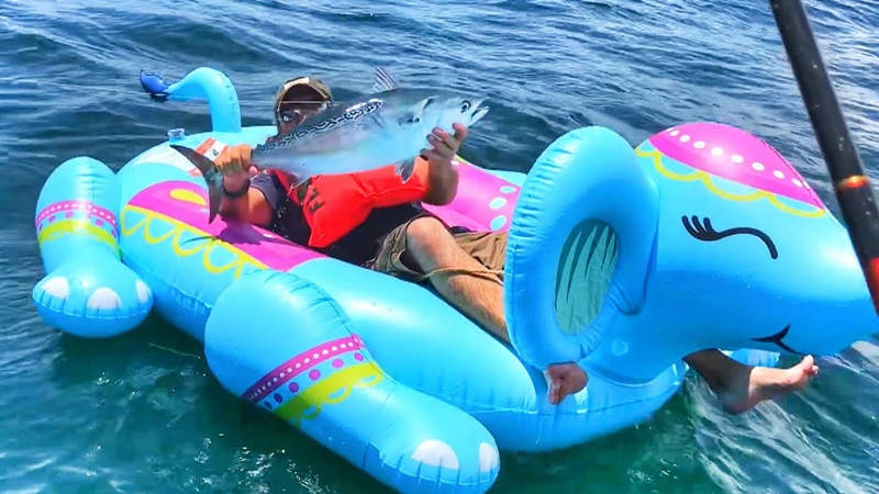 Dumbo Fishing Challenge!! Pool Float Popped With Sharks Around