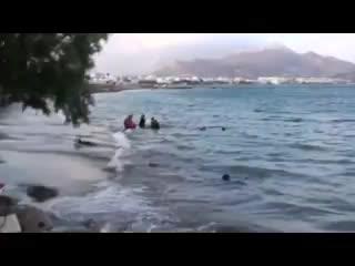 Чешский турист снял видимость сцены спасения иммигрантов перед телекамерами.Материал из Греции на острове Крит.Еще один театр д