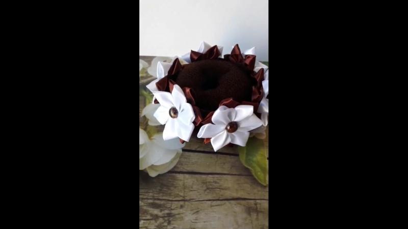 шоколадно-белая резинка на гульку