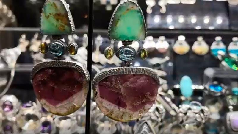 Шедевры ювелирной выставки Серебряные украшения Турмалины ларимары диаптаз