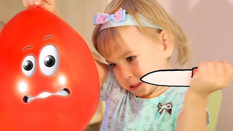 Воздушные шарики.Учим цвета с веселой песенкой.Песня Семья пальчиков. Лопаем шарики с сюрпризом MMs