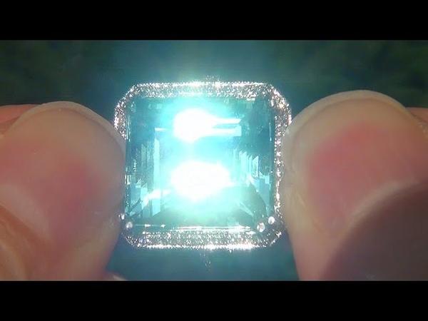 GIA Certified FLAWLESS Natural Aquamarine Diamond 14k White Gold Cocktail Ring - C513