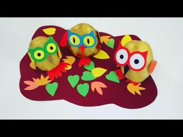 Совы осенью. Детские осенние поделки из овощей на выставку в детский сад и школу.