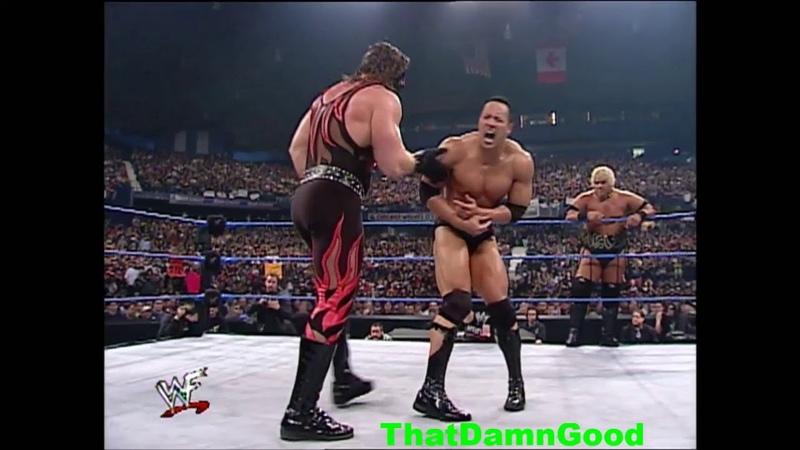 The Rock Stone Cold Undertaker vs Kurt Angle Rikishi Kane w HHH as Ref Jan 18 2001