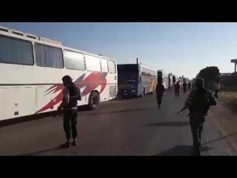 SYRIA: ОБЕСПЕЧЕНИЕ АВТОБУСОВ ПРИ ВСТУПЛЕНИИ В ГОРОДЫ FOUAH KAFRAYA В ИДЛИБЕ ПОД ПОДДЕРЖКОЙ HTS