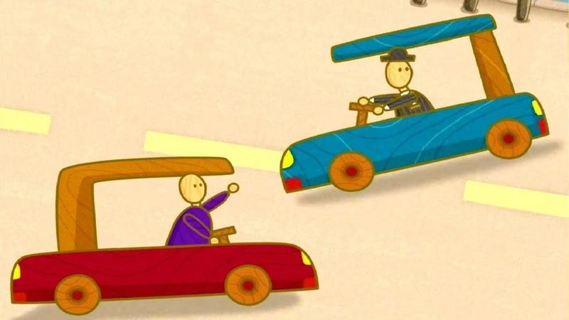 Coches de juguetes. Vehículos en el camino. Dibujos animados.