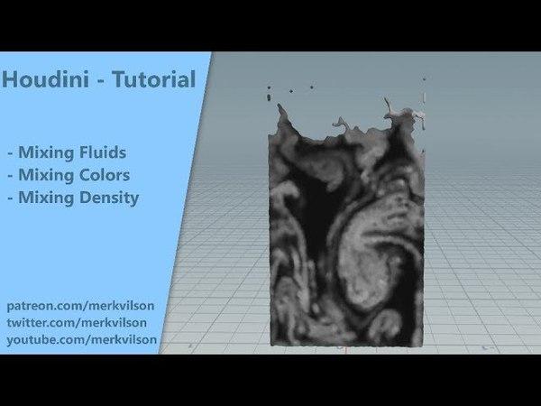 Mixing Fluids Colors (No Vex/No coding) - Houdini quick tip