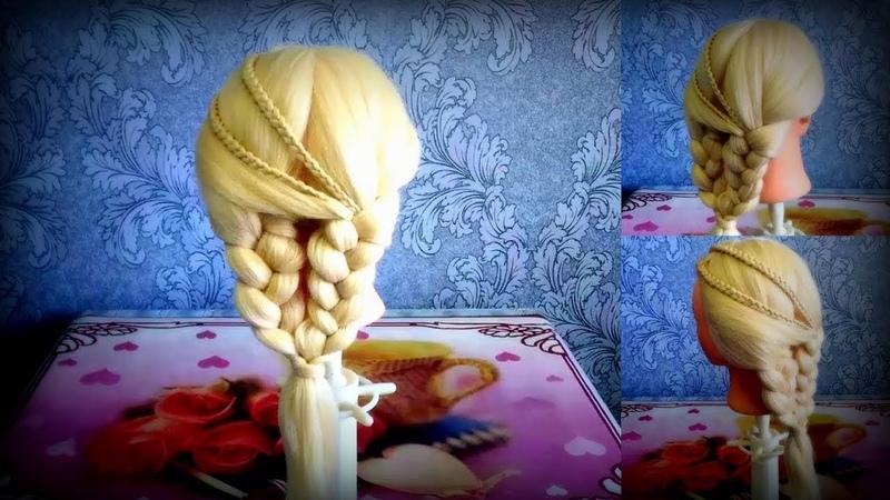 Восхитительно красивая прическа с удивительным плетением кос 😍