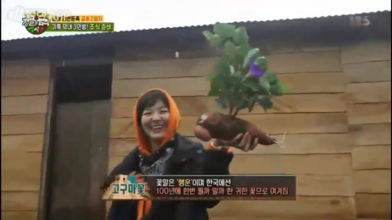 Seulgi proudly showing the huge sweet potato