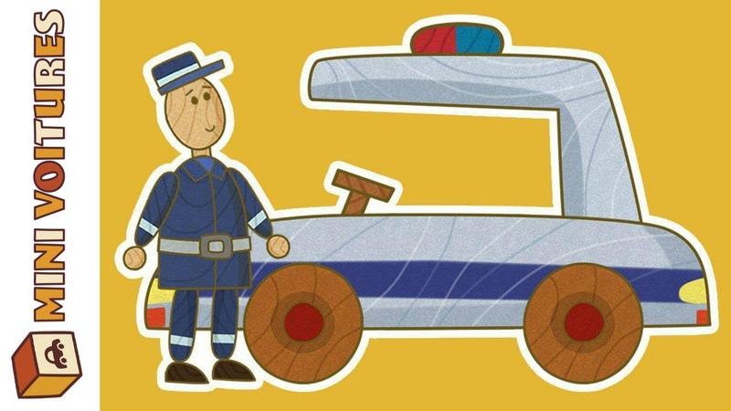 Dessin animé éducatif de mini-voitures: la voiture de police