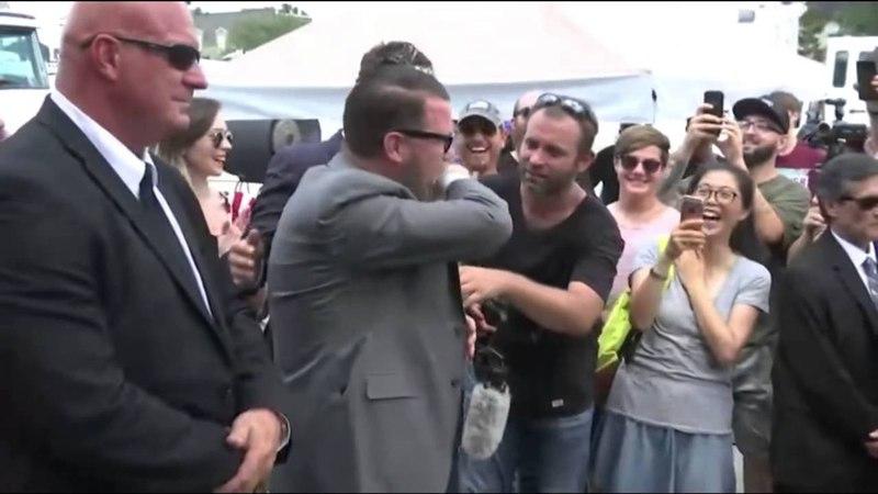 Milo Yiannopoulos kisses Gavin Mcinnes Milo at Orlando Shooting Site