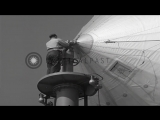 Unmast and take-off operations of an airship at an airbase in United States. HD Stock Footage