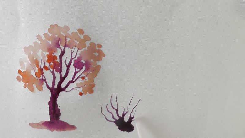 1.Как нарисовать ДЕРЕВО за 1 МИНУТУ акварелью! Простой способ How To Draw A Tree _