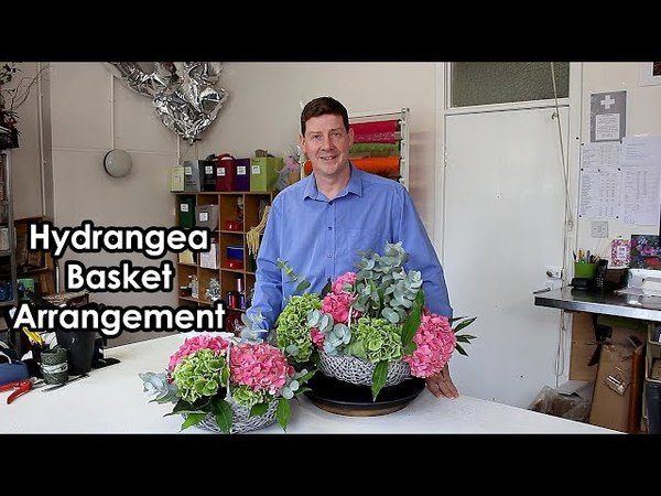Hydrangea Basket Arrangement - How To Make