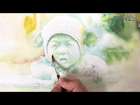 Watercolor Portrait Baby 3X Video Re upload 아기얼굴 그리기 인물수채화 재업로드 смотреть онлайн без регистрации