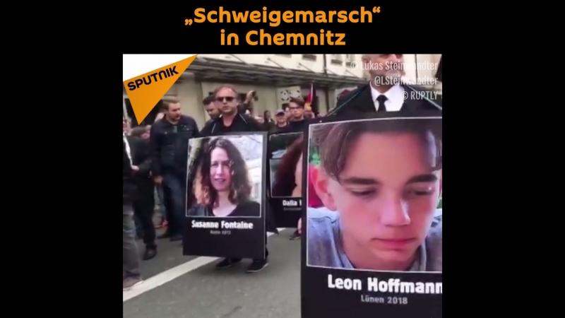 """""""Schweigemarsch"""" in Chemnitz gedenkt an die Opfer der Migranten"""