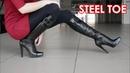 Christina's Gianmarco Lorenzi steel toe high heels boots EU 38 US 7 5